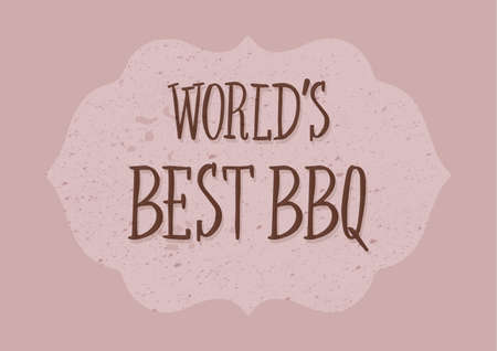 worlds best bbq grunge banner with on vector illustration.