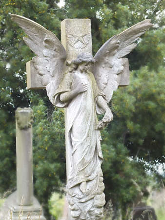 angel cemetery: large angel statue memorial Stock Photo