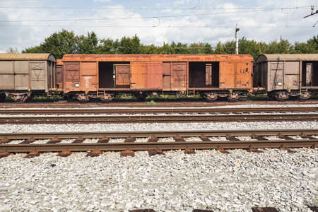 wagons: old and empty freight wagons waiting on the station