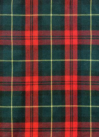 전통적인 스코틀랜드 체크 소재의 근접