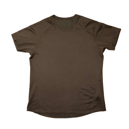 shirtsleeves: Brown sports t-shirt isolated over white background