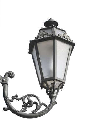 antiquity: Wall lantern hanging on a wall isolated over white