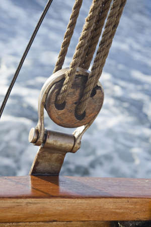 Pulley attached to the ships deck, against sea water