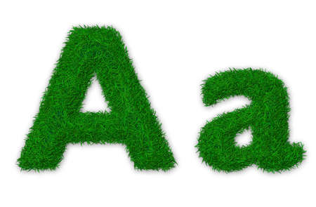 Illustration of capital and lowercase letter A made of grass