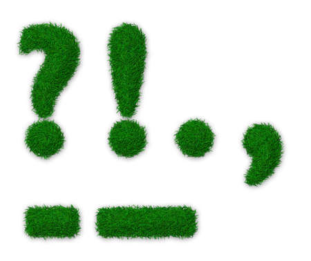 Illustration of punctuation marks made of grass Фото со стока