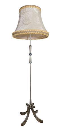 lampekap: Beige vloerlamp geà ¯ soleerde over witte achtergrond