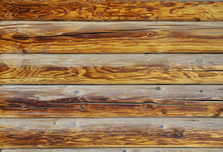 Wooden wall of a loghouse for background photo
