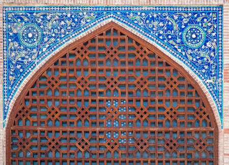 Arch portaal van Kok Gumbaz moskee, Shahrisabz, Oezbekistan