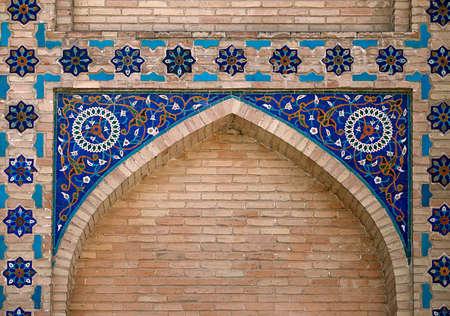 Sierlijke raam nis in de muur, Oezbekistan Stockfoto