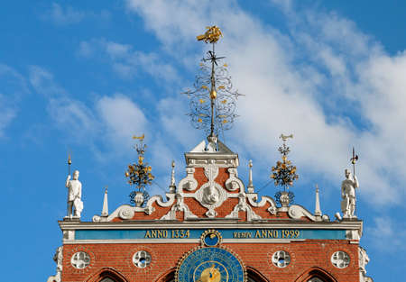 Top of the House of the Blackheads in Riga Stock Photo