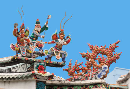 Warriors on a temple roof