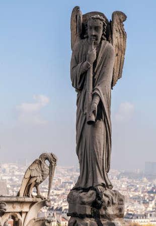 Archangel Gabriel on the roof of Notre-Dame de Paris Stock Photo