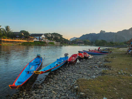 Row of boat on laos river