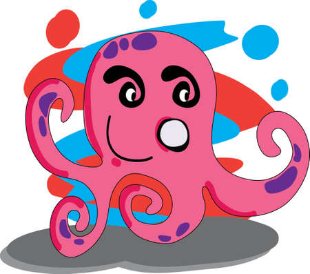 cephalopod: Illustration of a cute smiling octopus  File saved on layers for easy editing
