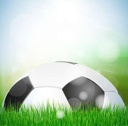 lensflare: Soccer ball design on green grass background,abstract ,blur ,sky,web,bokeh, texture, wallpaper,illustration Stock Photo
