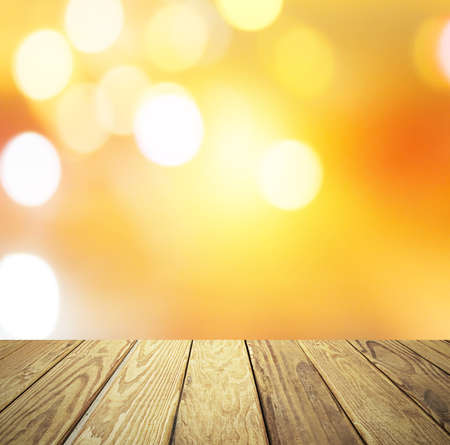 Empty wood table over blurred sunset sky with bokeh background, product display template,deck, Фото со стока