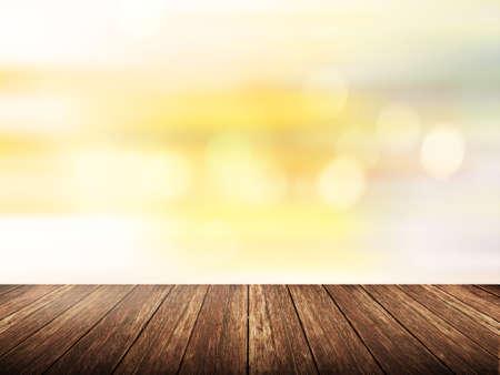 sol radiante: mesa de madera vac�a sobre el sol borrosa con el fondo bokeh, plantilla de exposici�n de productos, la cubierta, Foto de archivo