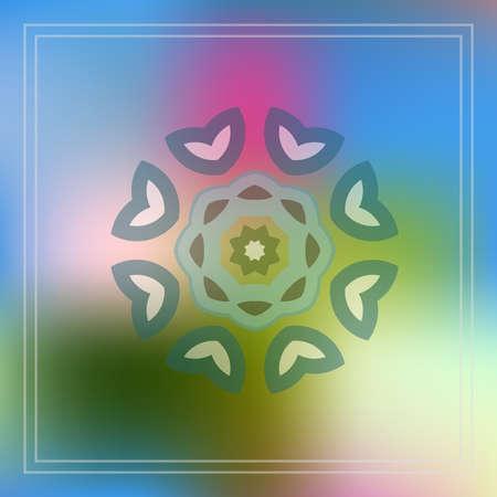 Ornamental flower decor geometric element on abstract blur background for web design, colorful, Nature blurred unfocused Ilustração
