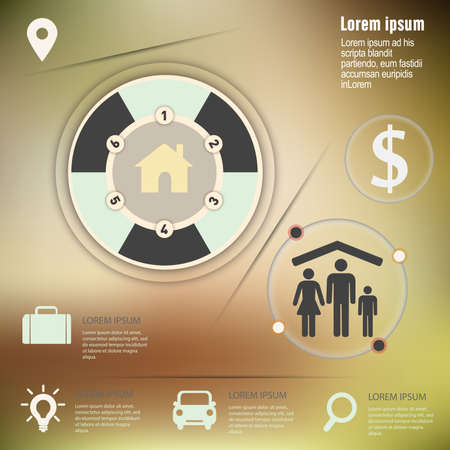 infographic with unfocused background,Template for cycling diagram design Ilustração