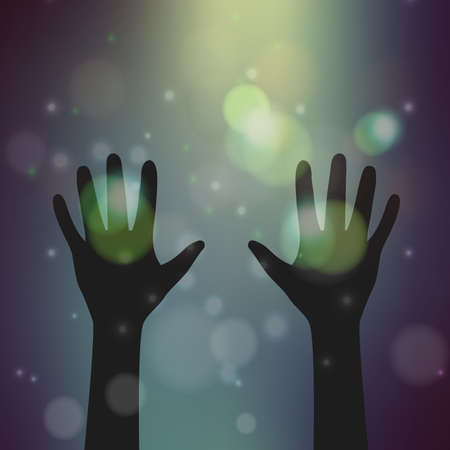 hand silhouette on blurry bokeh background,illustration,Religion concept