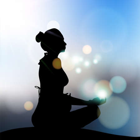 Woman meditating in sitting yoga position on the top of a mountains above clouds at blurry sunset background. Zen,Health good concept
