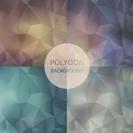 Set of abstract Geometric backgrounds. Polygonal ,retro style Illustration