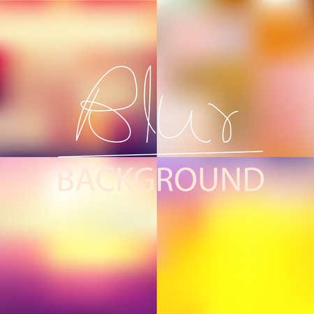 Set of  soft blurred abstract background set collection in subtle sunset sky colors Ilustração