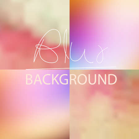 Set of  soft blurred abstract background set collection in subtle sunset sky colors Illustration