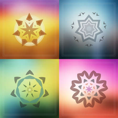 Set of geometric design decorative elements on blur background Illustration