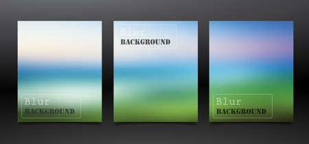 Set of Flyer  Poster Design in A4 Size, Template colorful nature banners  イラスト・ベクター素材