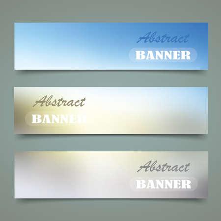 Blur color nature banner set  on gradient background.  Ilustração