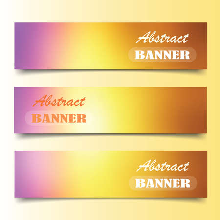 Blur color nature banner set  on gradient background.  Illustration