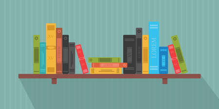 Set of books in flat design Stock Illustratie