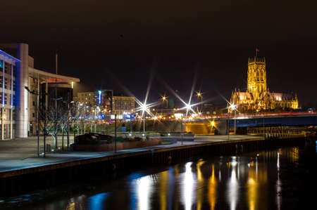 minster: Night panoram of Doncaster -  Doncaster College and Minster