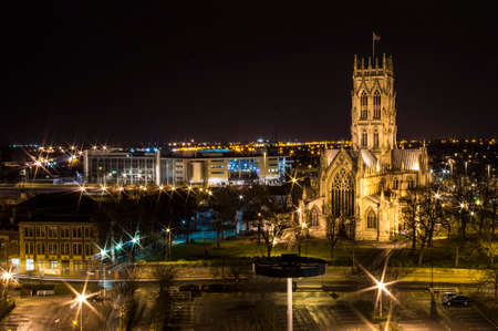 Doncaster night panoram of St. George churche