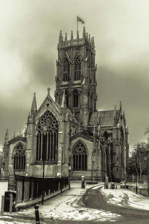 stylize: Doncaster Minster in the winter snow Stock Photo