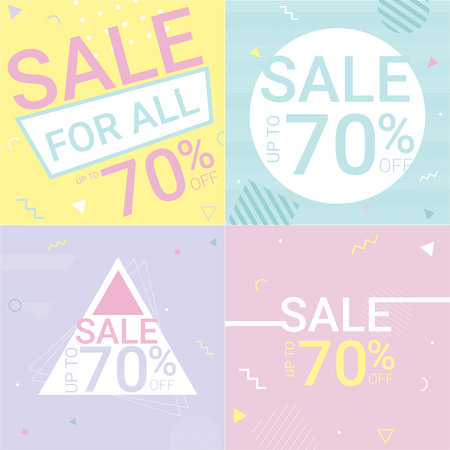 mobile marketing: Sale Banner Pastel Illustration Illustration