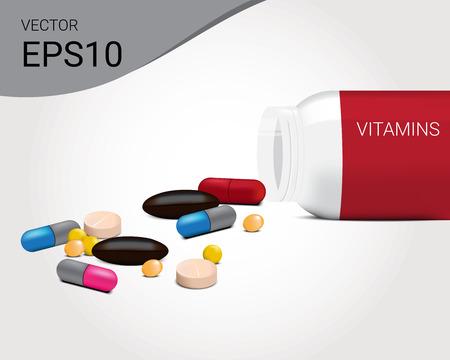 Mixed Medicine design illustration template.