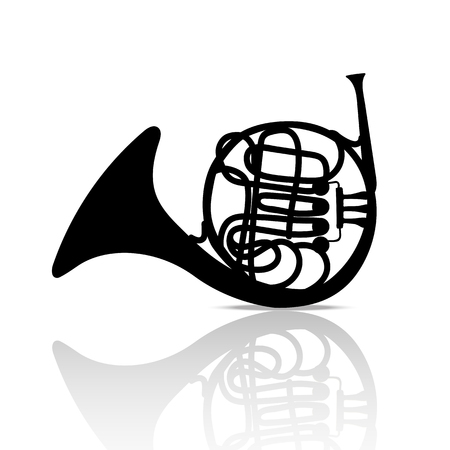 French Horn Music Instrument Black and White  Background Illustration
