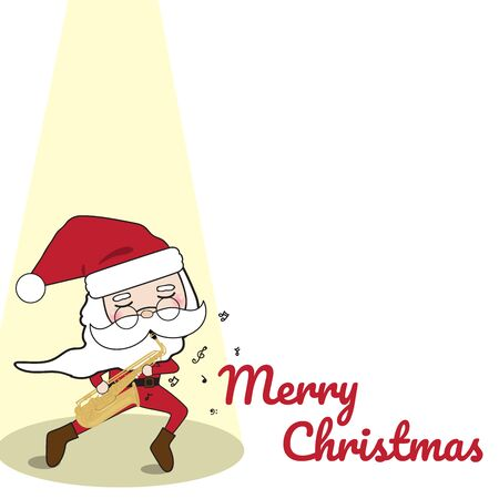 Merry Christmas and Happy New Year with Santa Spotlight Background Illustration Illustration