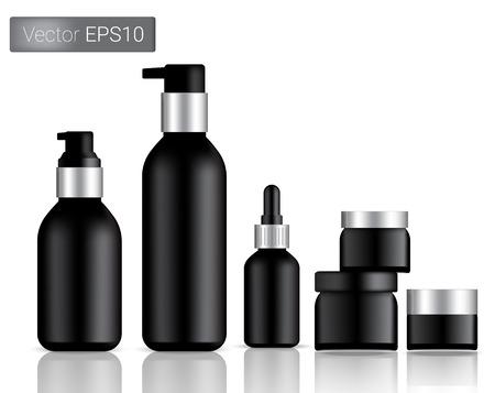 Black Bottles Set Background Illustration. Vettoriali