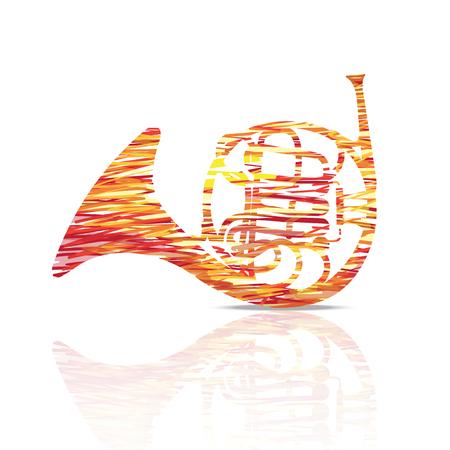 프렌치 호른 음악 악기 화려 하 고 흰색 그림입니다. 스톡 콘텐츠 - 91955320