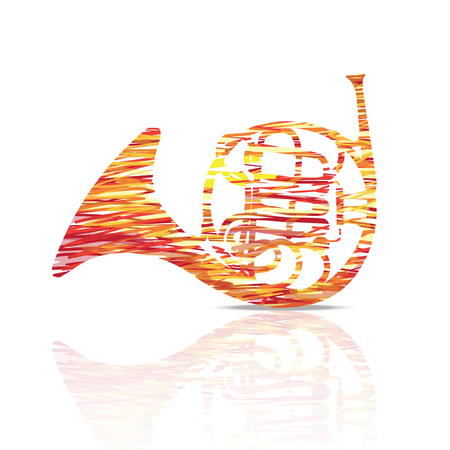 French horn music instrument colorful and white illustration.