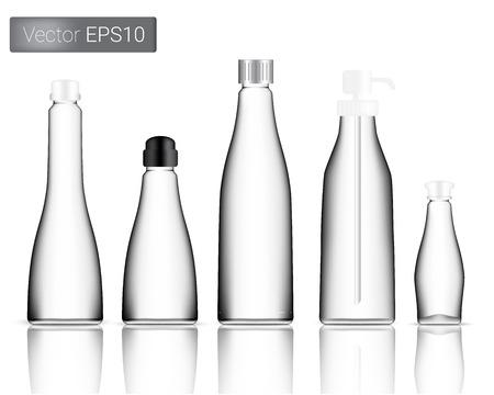 Glass Bottles Set Background Illustration Vettoriali