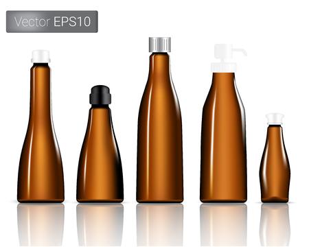 Amber Glass Bottles Set Background Illustration 向量圖像