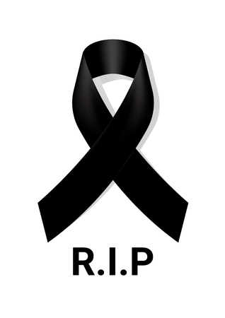 Black awareness ribbon with R.I.P black lettering isolated on white.