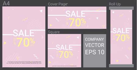 Summer Sale Template Banner With Pastel Color Background Illustration