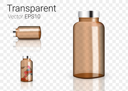 Mock up Realistic Amber Glass Transparent Packaging Product For Cosmetic Beauty or Medicine Bottle isolated Background.
