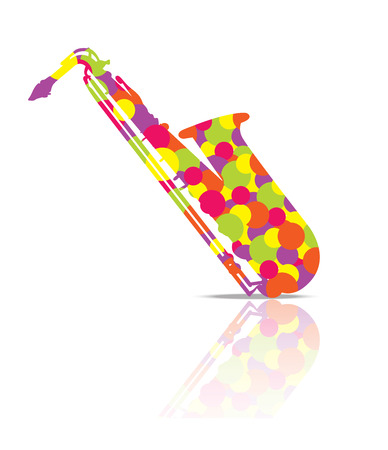 Saxophone Music Instrument colorful and White Background Illustration