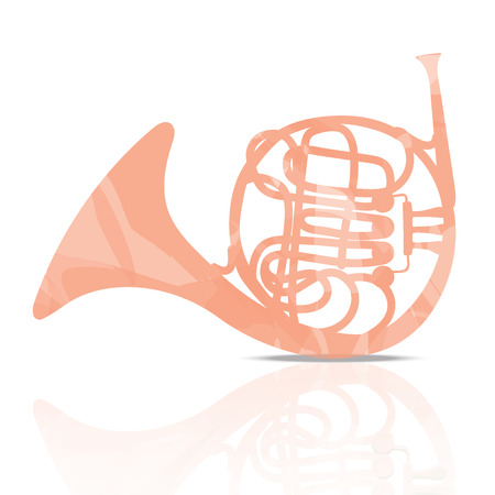 French Horn Music Instrument colorful and White  Background Illustration
